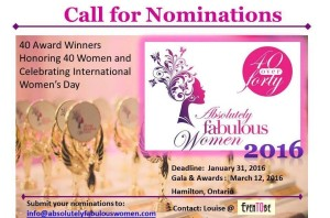 Nominate a Woman over 40 today for the Absolutely Fabulous Women Awards, Jan. 31/16