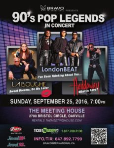 Win tickets to see 90's Pop Legends in Concert, Oakville, September 25/16
