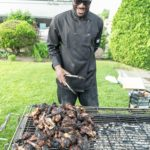 Serving up delicious jerk chicken