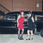 Abra and Kathi and the vintage hearse
