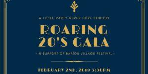 Roaring 20s Gala to support Barton Village Festival, Venetian Club, Feb. 2/19