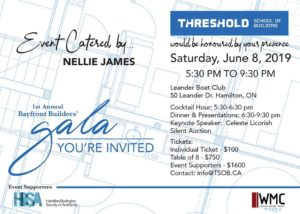 1st Annual Bayfront Builders' Fundraising Gala, Threshold School of Building, June 8/19